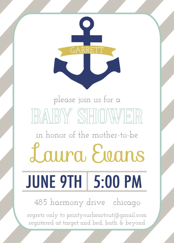 Nautical Baby Shower Invitation Anchor Printable