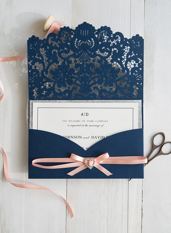 elegant navy blue laser cut wedding invitations with glitter silver layer