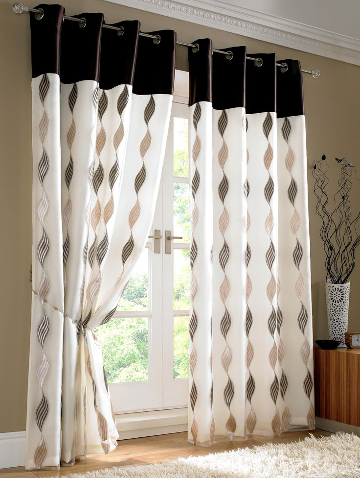 Contemporary White And Black Theme Bedroom Curtains With Curved Shaped  Black Pattern Curtains Decorating And Round Shape Metal Stainless Steel  Curtains Ring ...