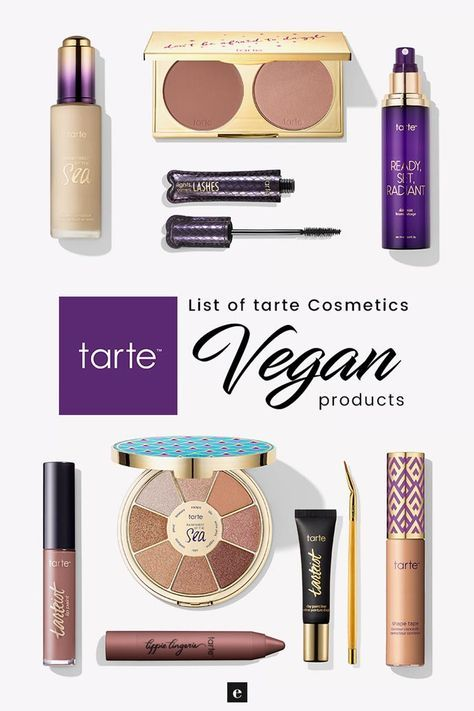 List of Tarte vegan cosmetics, no animal testing and no animal ingredients. Tart…