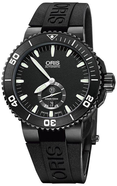 Oris 01 739 7674 7754-07 4 26 34BTE Men's Black Titanium Watch Aquis Small Second Subdial Date