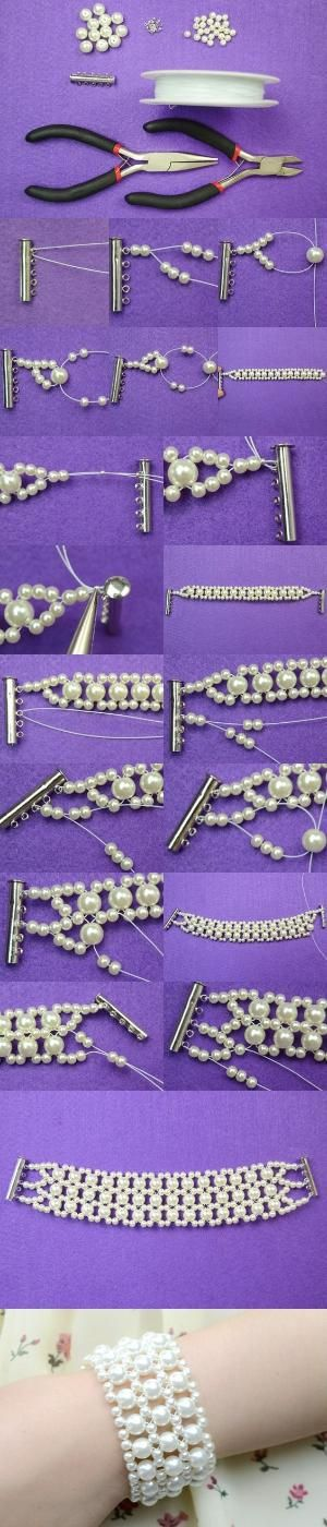 Tutorial on How to Make White Wedding Pearl Bracelet for Bride from LC.Pandahall.com | Jewelry Making Tutorials & Tips 2 | Pinterest by Jersica