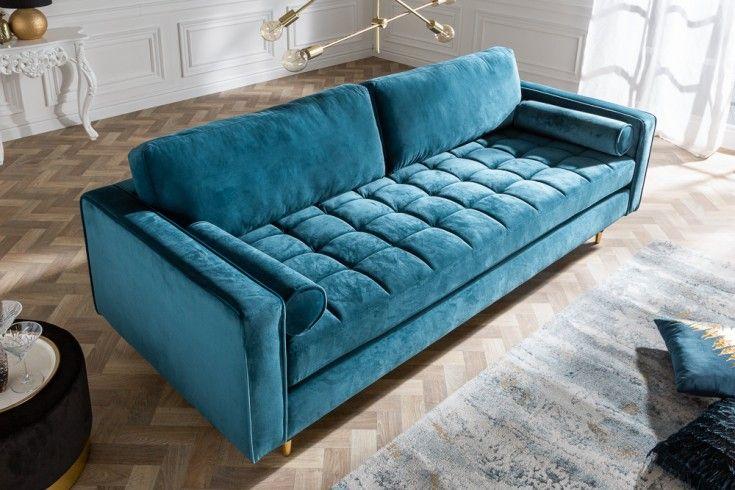 Elegantes Design Sofa Cozy Velvet 225cm Aqua Samt Federkern 3er Sofa Riess Ambiente De Sofa Design 3er Sofa Und Xxl Sofa