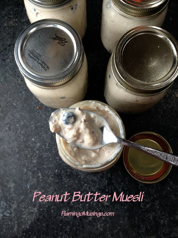 Breakfast in #Oatober: Peanut Butter Muesli is a fun and convenient make-ahead way to have a delicious, protein-packed breakfast, lunch, or snack!