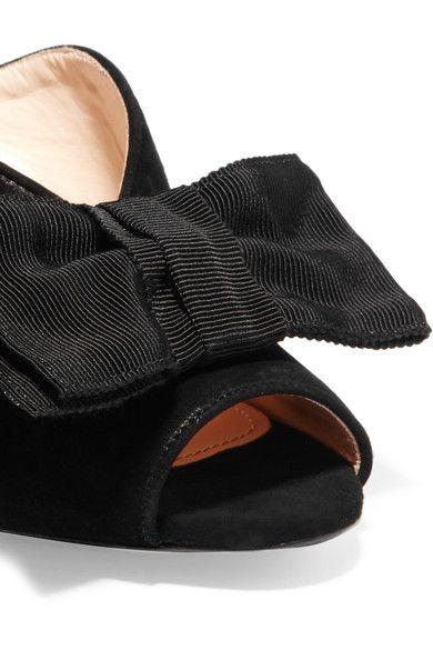 Prada - Grosgrain Bow-embellished Suede Mules - Black - IT40.5
