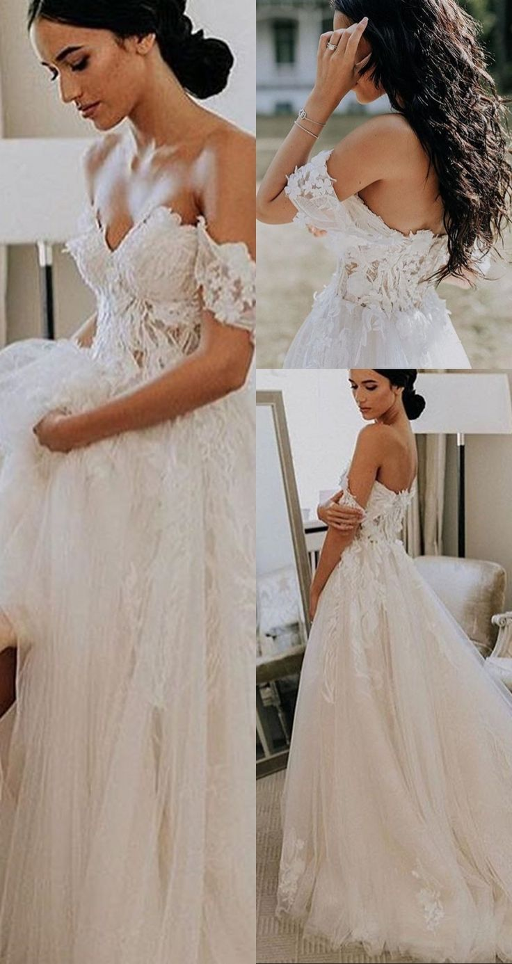 A-Line Off-the-Shoulder Short Sleeves Court Train Wedding Dress with Appliques