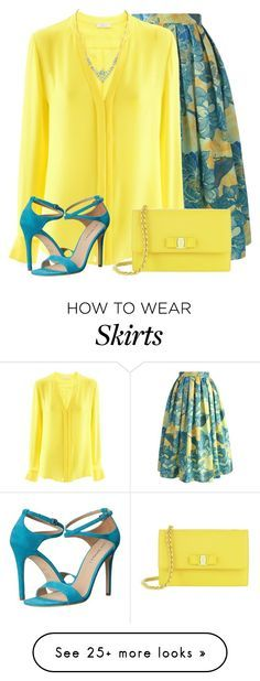 Floral Spring Skirt by daiscat on Polyvore featuring Chicwish, iHeart, Salvatore Ferragamo and Via Spiga