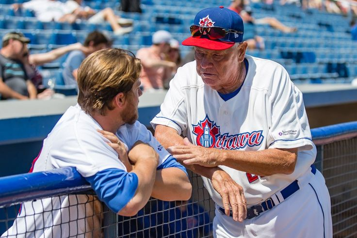 Manager Hal Lanier of the Ottawa Champions Baseball Club talks to Jason Coker in May 2016. Photo by Marc Lafleur