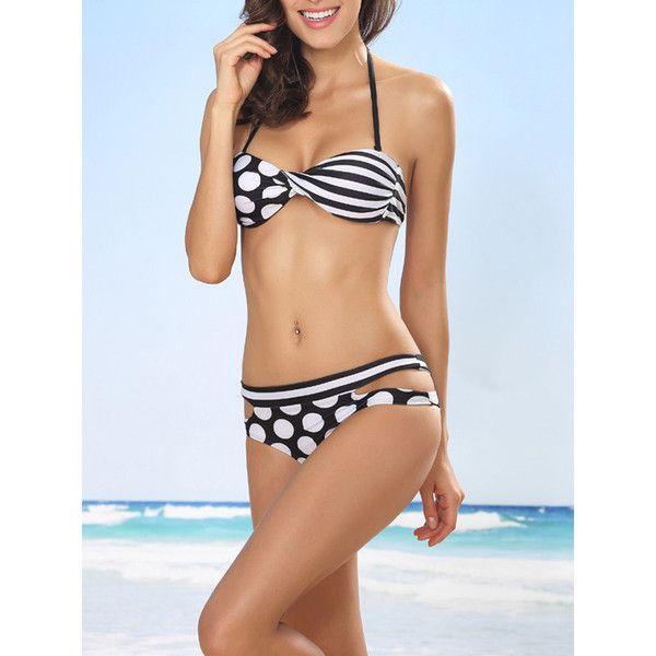 Halter Cutout Polka Dot Striped Bikini (£26) ❤ liked on Polyvore featuring swimwear, bikinis, halterneck bikinis, cut out bikini swimwear, stripe bikini, cut-out bikinis and polka dot halter top