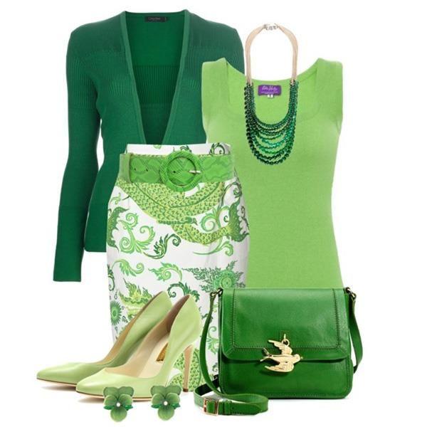Зеленые туфли и сумка фото
