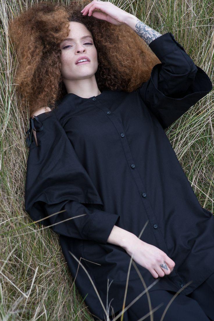 Black cotton shirt with cut out shoulders  #cottonshirt #fashion #lookbook