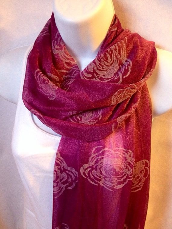 On sale valentine scarf Mothers Day rose scarf long by scarfNurse 9  Mother's Day Scarf