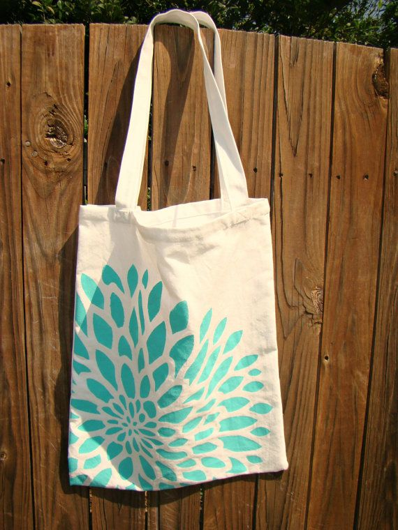 Hand Painted Tote Bag Diaper Bag 100 Cotton by LinenBaby on Etsy, $14.00