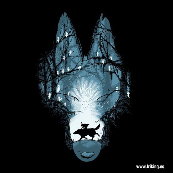 """La princesa Mononoke, se centra en la lucha entre los guardianes sobrenaturales de un bosque y los humanos que necesitan sus recursos una gran historia que no podía faltar en nuestra colección de camisetas. """"The Forest Spirit"""""""