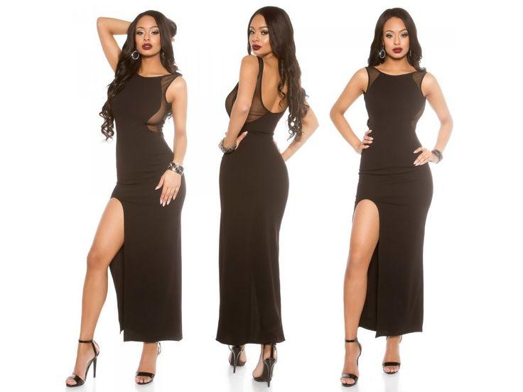 Černé společenské šaty Koucla, RYCHLÉ DODÁNÍ - Bestmoda - long black party dress with lace