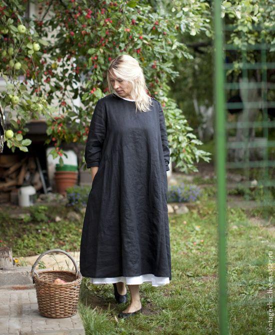 Купить Комплект платьев во французском стиле art.68a - черный, платье, бохо