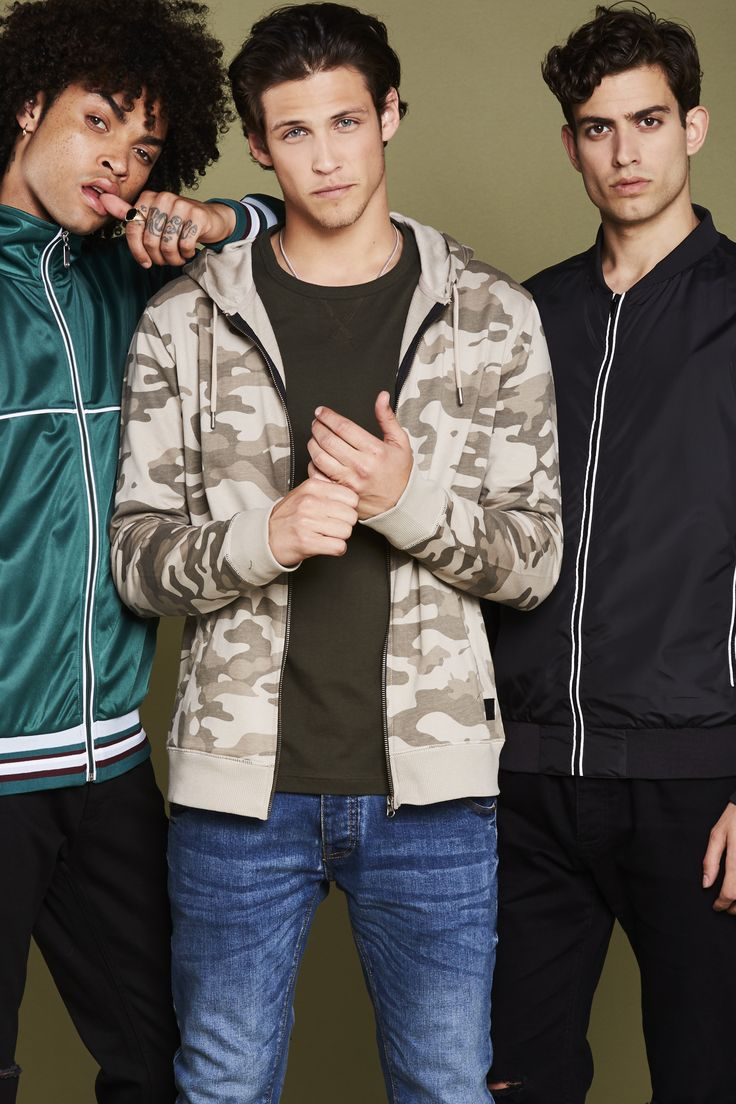 Whispering Smith - Pure London Man Concept 3 men's zipped hoddies/jackets in emerald green, camouflage and black by Whispering Smith