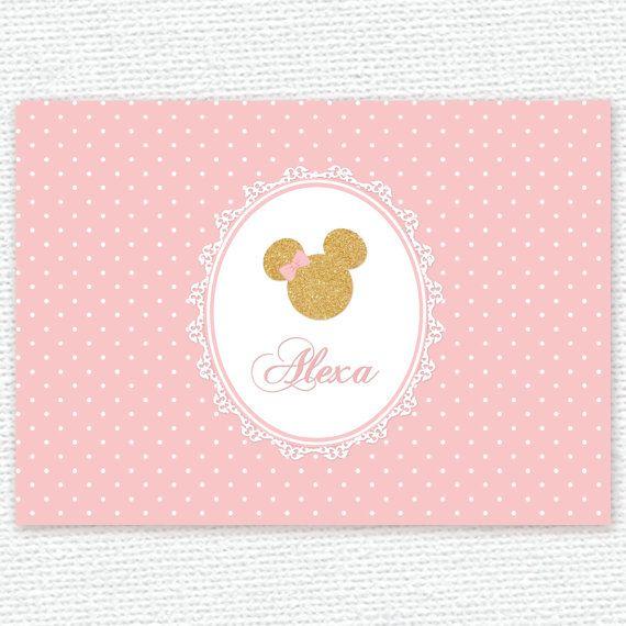 princesa rosa y oro minnie mouse bebé ducha por PRINTABLEPARTYPAPER