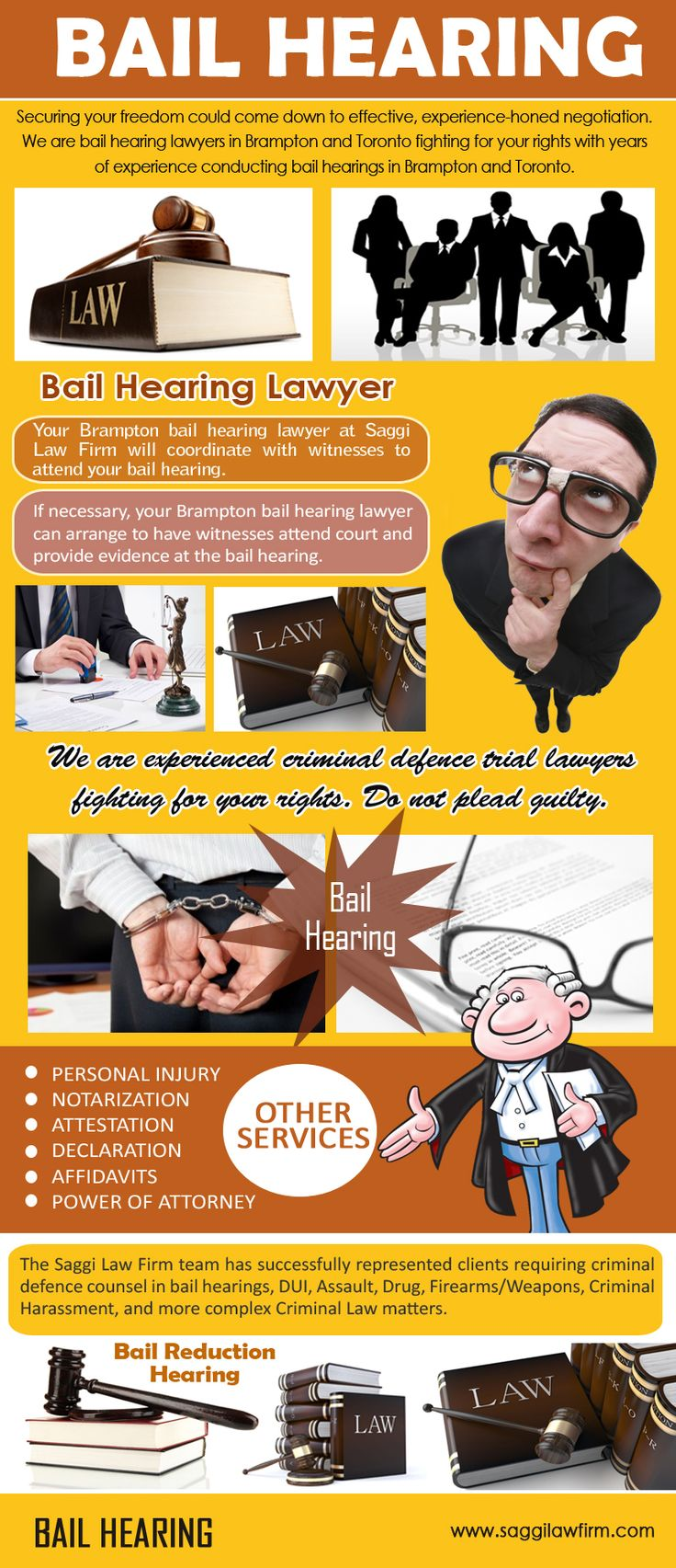 Check this link right here http://saggilawfirm.com/criminal-law/bail-hearings-bail-reviews/ for more information on Bail Hearing Canada. Hiring Bail Hearing Canada lawyer early in the action against you can affect whether a criminal charge will be laid, whether you can achieve bail or a release pending the completion of the case against you, the quantity and quality of evidence collected by the police, and the quality of defense strategies you could use.