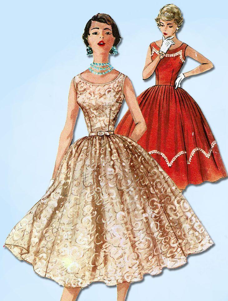 1950s VTG Simplicity Sewing Pattern 1158 Misses Rockabilly Cocktail Dress Sz 30B #SimplicityPattern #DressPattern