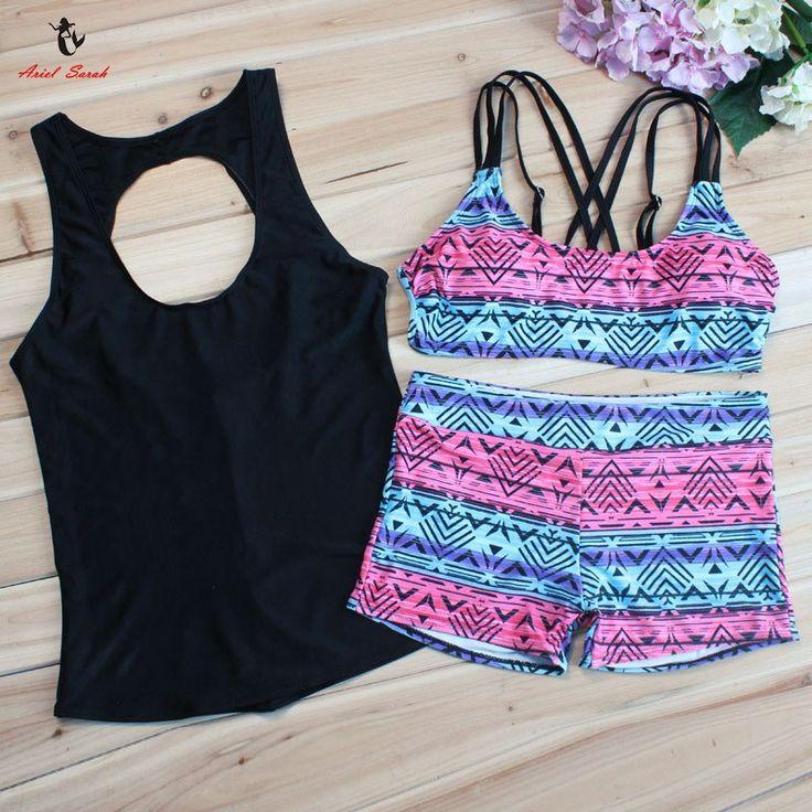 Plus Size Retro Low Waist Three-Piece Bikini Tankini Set //Price: $22.99 & FREE Shipping //     #discount