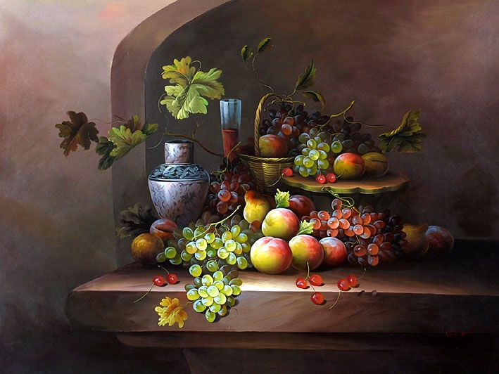 Classic fruit still life oil painting supplies crafting for Buy mural paintings online