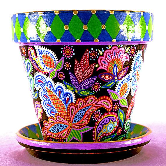 Hand-Painted Paisley and Checkered Terracotta Planter and Saucer
