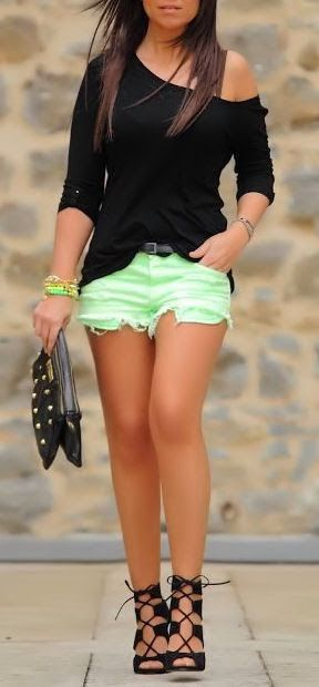 Black Off the Shoulder Blouse w/ Neon Lime Cut-Off Shorts & Lace-Up Heels | Gloss Fashionista