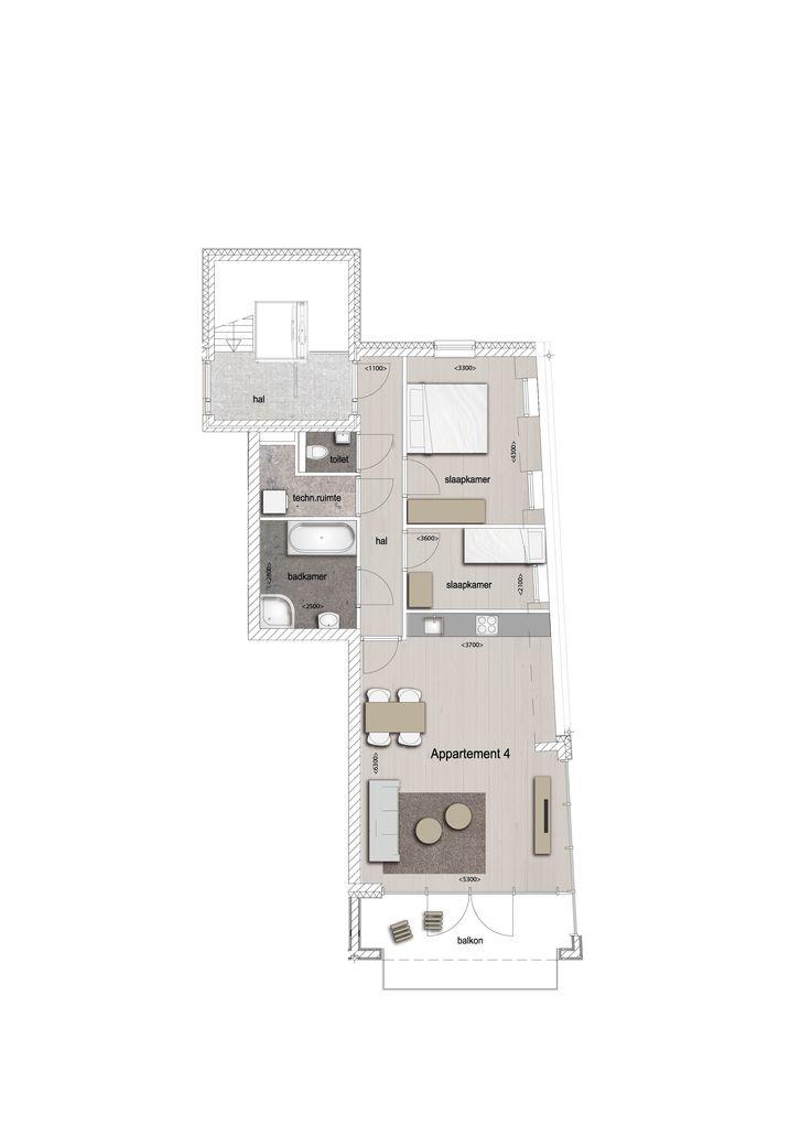 Voorbeeld indeling appartement 4