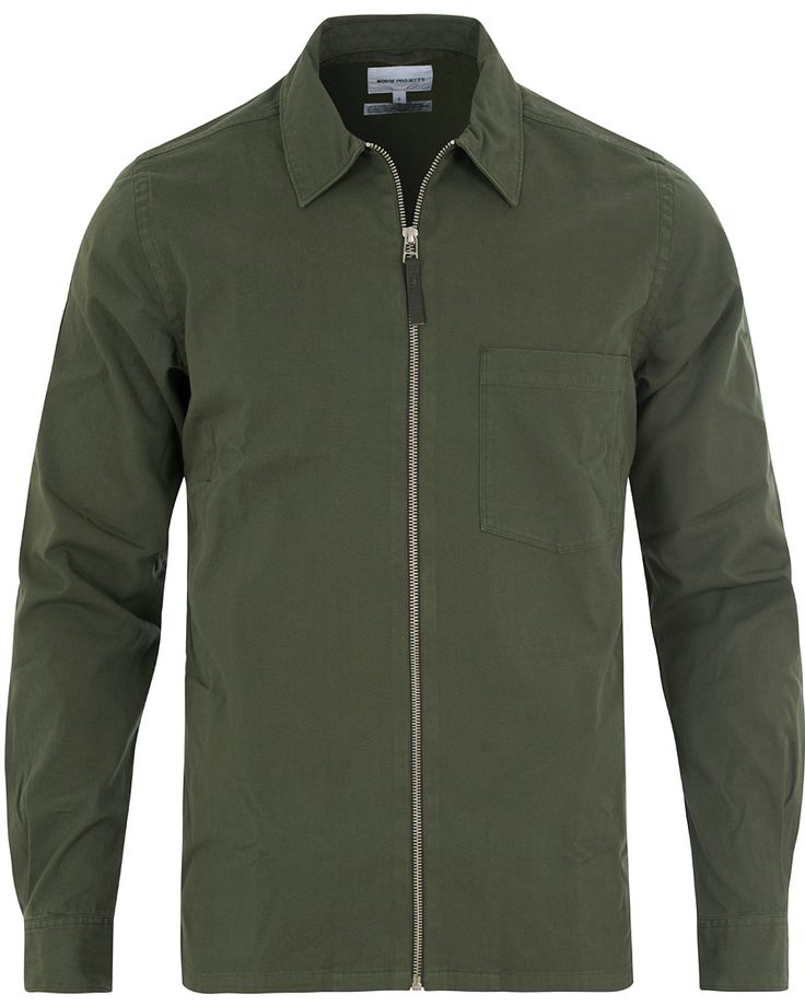 Norse Projects Jens Garment Dyed Twill Shirt Jacket Forrest Green i gruppen Jackor / Tunna jackor hos Care of Carl (13808611r)