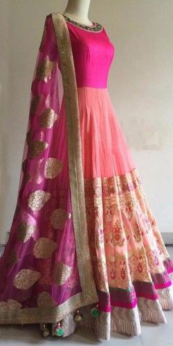 Astounding Pink And Orange Georgette Anarkali With Dupatta.
