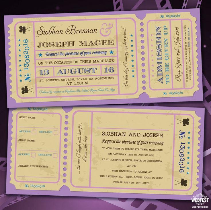 movie ticket stub wedding invitation%0A movie ticket stub wedding rsvp card   Hochzeitseinladungen   Pinterest    Vintage movies  Vintage and Themed weddings