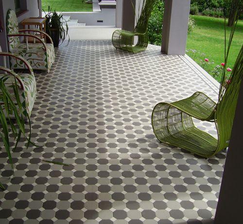 Going green on the patio -Winckelmans dot/octagon tiles