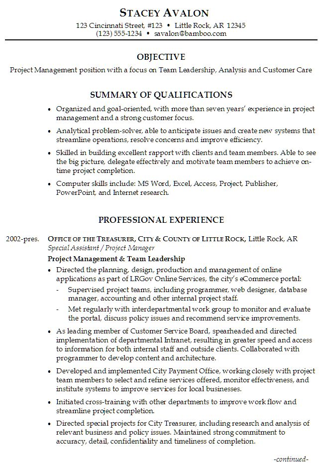 Sample Resume for Project Management, focus on Team Leadership, Analysis and Customer Care
