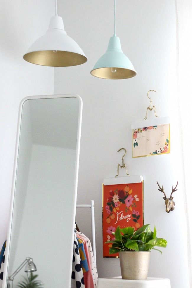 DIY golden pendant lamps
