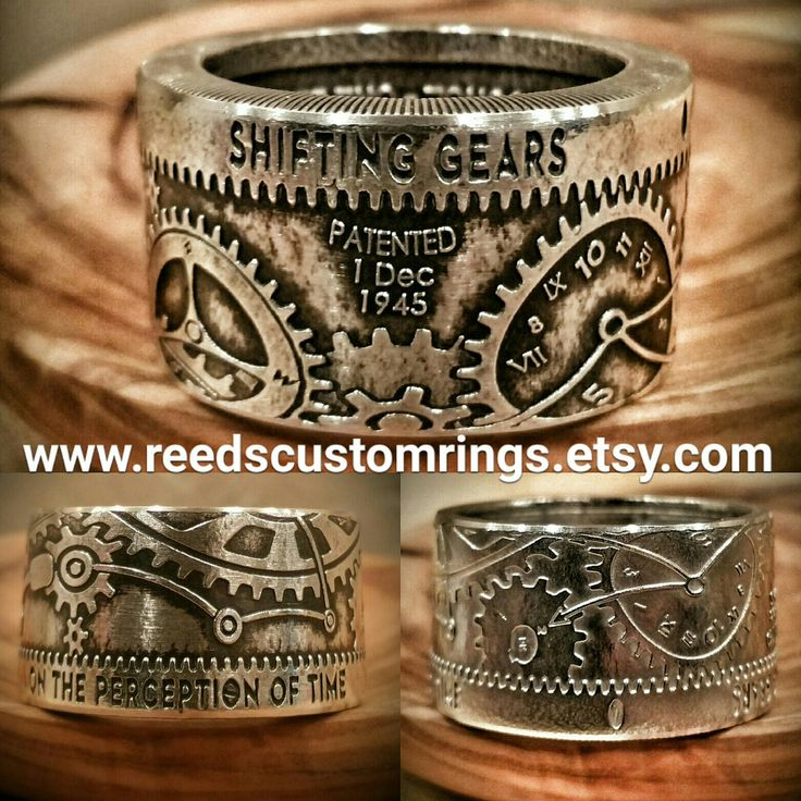 """This Very Unique """"Shifting Gears On the Perception of Time"""" Ring was Hand Forged From a Pure Silver Coin and is Now for Sale @ www.reedscustomrings.etsy.com. #coinring #coin #ring #gears #steampunk #silver #silverrings #bullion #silverbullion #usmcvet"""
