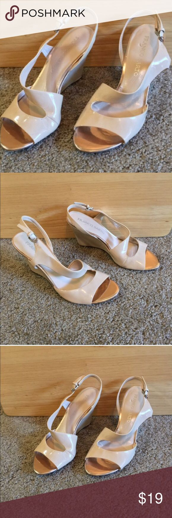 NWOT Franco Sarto Beige Wedge Sandals 7.5 Beautiful patent leather Beige wedge sandals never worn! Only mark in on the left inner sole shown in last picture won't be see when they are being worn.  Size 7.5 with 3.5 inch wedge. Franco Sarto Shoes Wedges