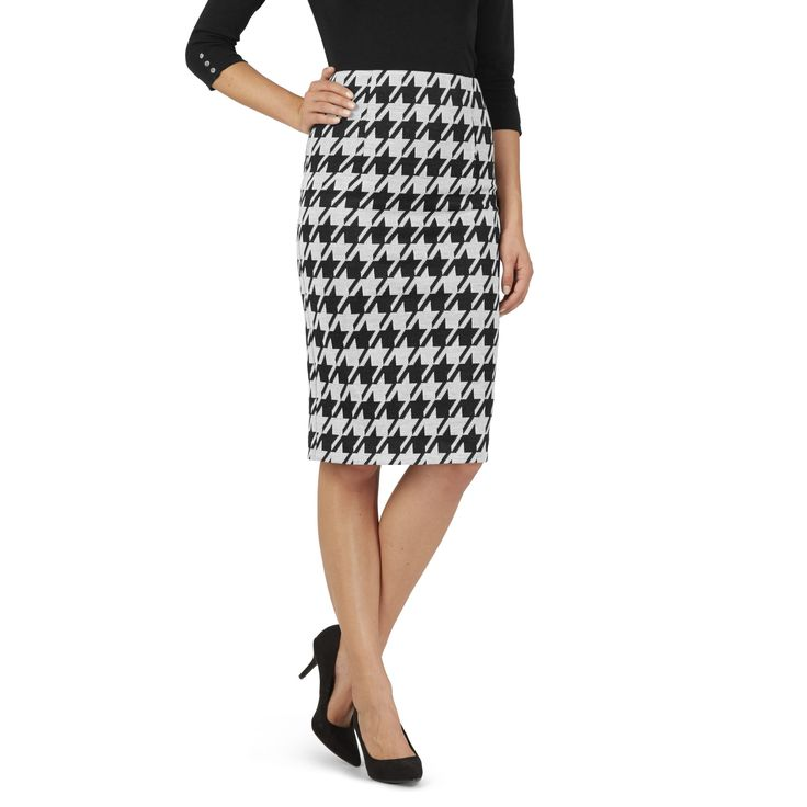 Black and White Check Pencil Skirt