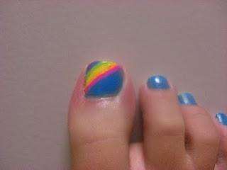 Rainbow toe nail