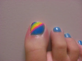 Rainbow toe nail | Nail Designs | Pinterest