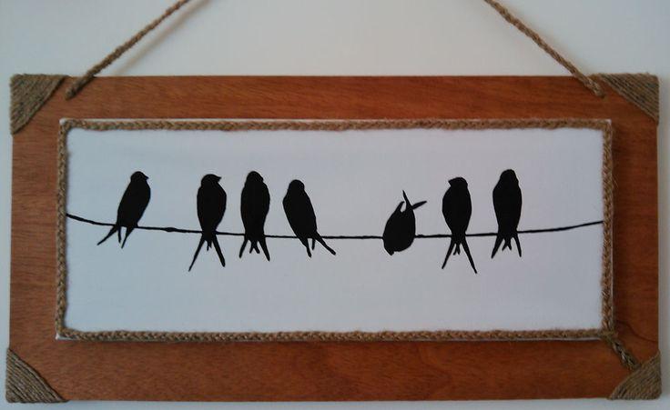 Marco para cuadro (madera envejecida y cuerda de sisal)