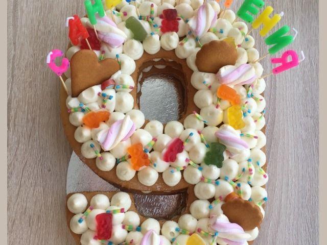 вкусный детский торт в виде цифры 9 на день рождения мальчику девочке на 9 лет свадьбы юбилей на 9 мая за 9 минут в микроволновк детский торт торт бисквит