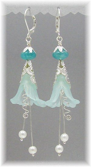 Blue Ice Fairy Flower earrings made from lucite flowers, filigree, glass pearls…