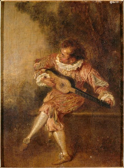 Le donneur de sérénades (mezetin). Antoine Watteau, vers 1715.