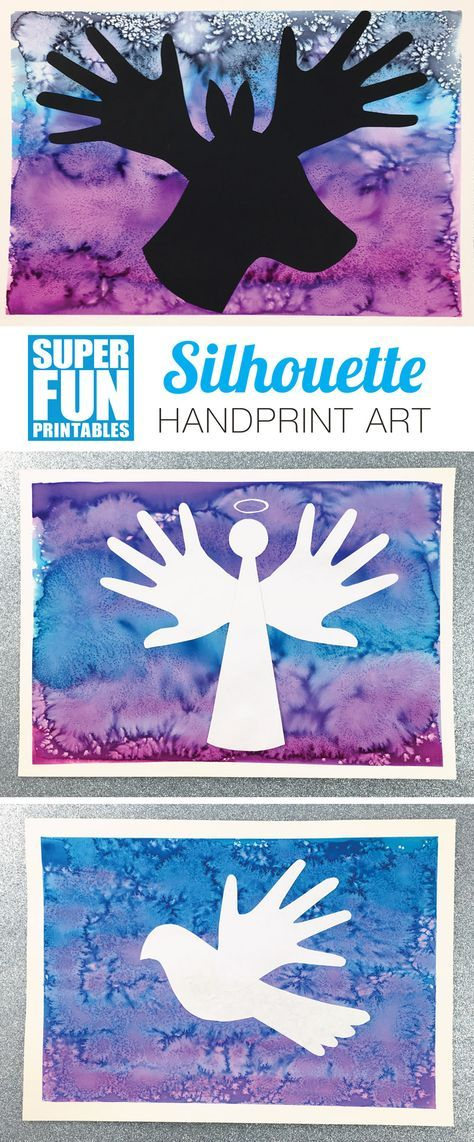 Create gorgeous process art personalised with a Christmas silhouette featuring your child's handprints. Digital download includes templates plus photographs and instructions on how to create the process art background #christmascrafts #christmasprintables #kidsactivities #christmasart #kidsart