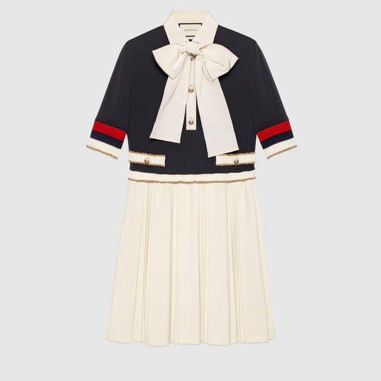 Gucci Abito in jersey di viscosa con dettaglio Web lavorato a maglia