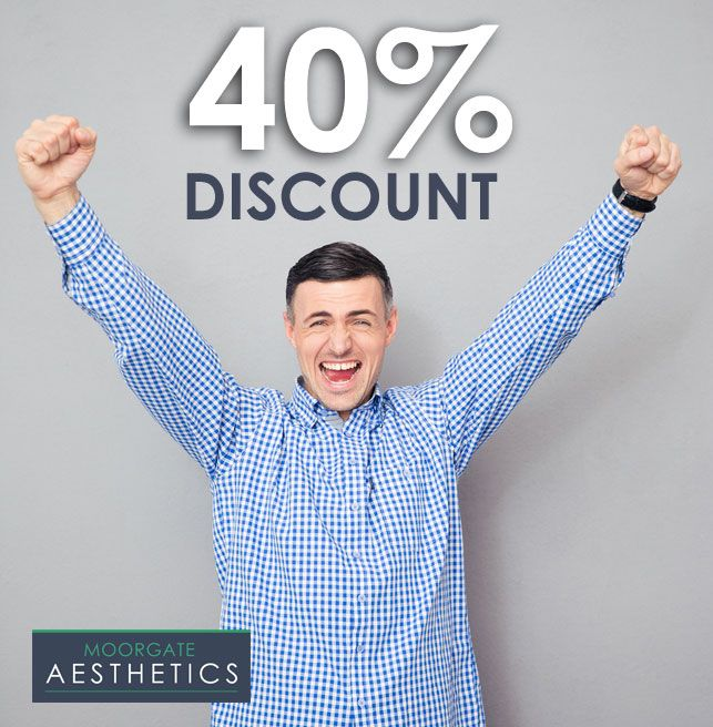 40% Discount on FUE Hair Transplant UK   Cosmetic Surgery Offers Deals - Hurry for a limited time only Moorgate Aesthetics are giving you a chance to get 40% off the cost of FUE Hair Transplant. Cosmetic Surgery Voucher Deals. Throughout the UK