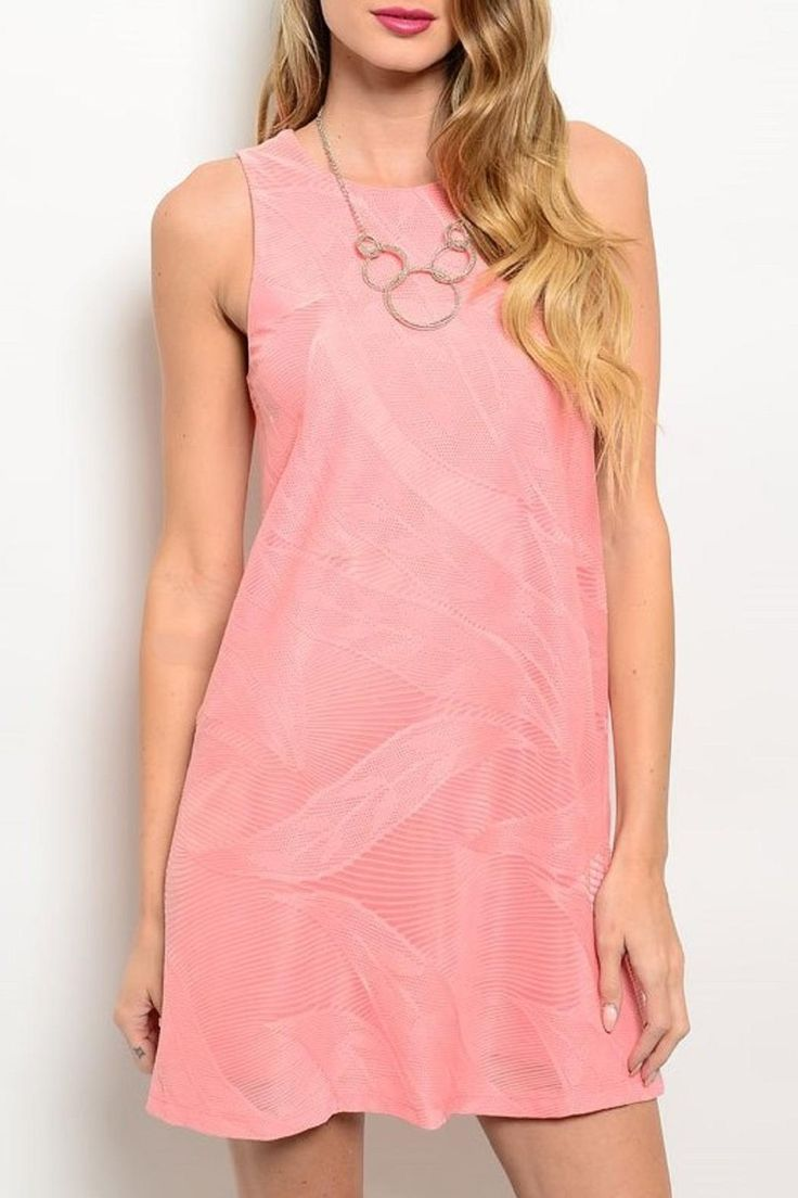 This sleeveless dress features a rounded neckline keyhole back closure and shift fit full lining.  Coral Summer Dress by Adore Clothes & More. Clothing - Dresses - Wedding Wear Washington