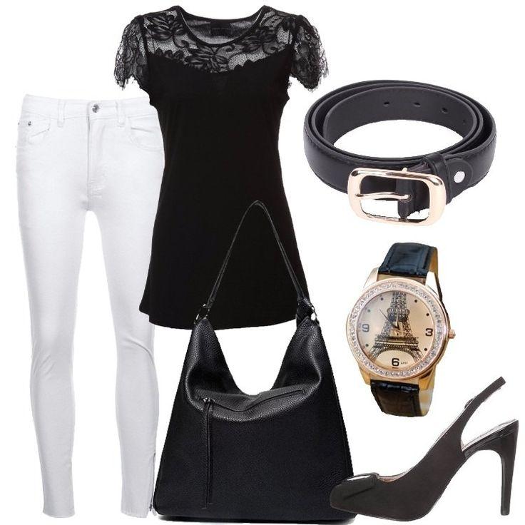I jeans sono bianchi e con vestibilità aderente, a 7/8, con zip laterale esterna all'altezza dell'orlo. La t-shirt è nera a mezze maniche con inserto di pizzo. Anche la borsa molto capiente, è nera e in similpelle. Le décolleté con cinturino e fiocco in tessuto sono anch'esse nere. La cintura con fibbia color oro è in similpelle nera. L'orologio da polso, infine, ha il cinturino nero, è decorato da brillantini e sullo sfondo ha la to...