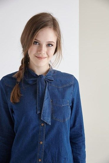 Bayan Mavi Yakası Fiyonk Detaylı Kot Gömlek